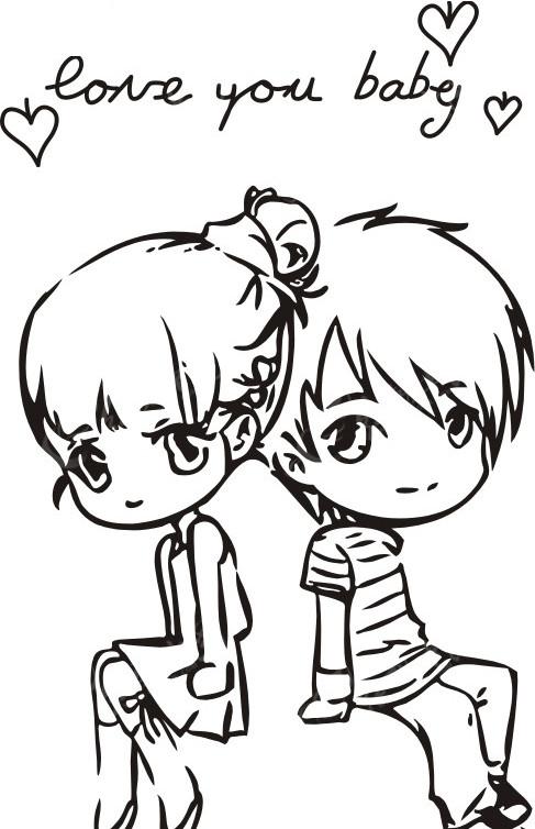 男孩 女孩 动漫人物 矢量人物 矢量图库 cdr格式 情侣 爱情 情侣图片