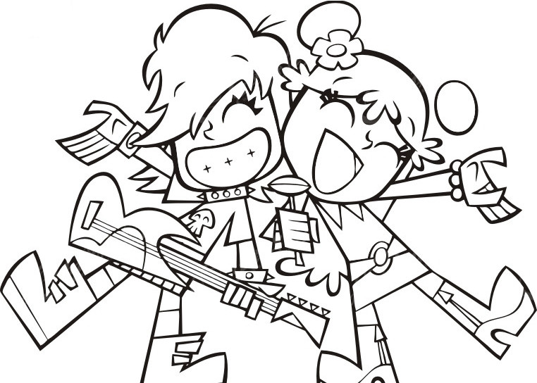 动漫卡通情侣弹吉他唱歌