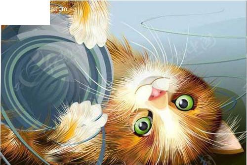 倒的可爱小猫玩毛线球CDR素材免费下载 编号87570 红动网