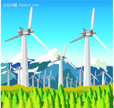 风车力发电厂矢量图图片