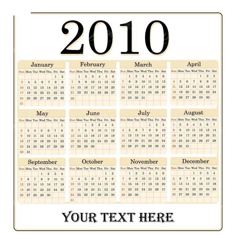 2010年日历模板图片