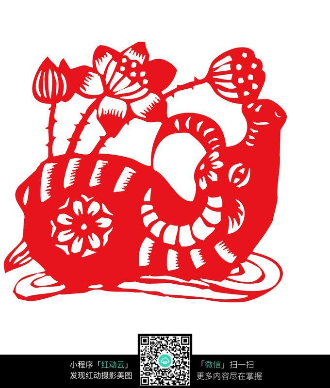 莲花水牛剪纸图片