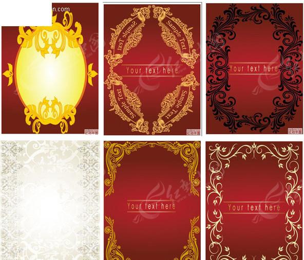 6款欧式花边边框eps素材免费下载_红动网