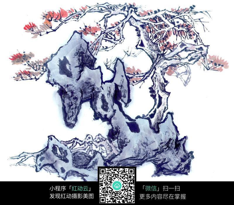 苍松与假山国画图片