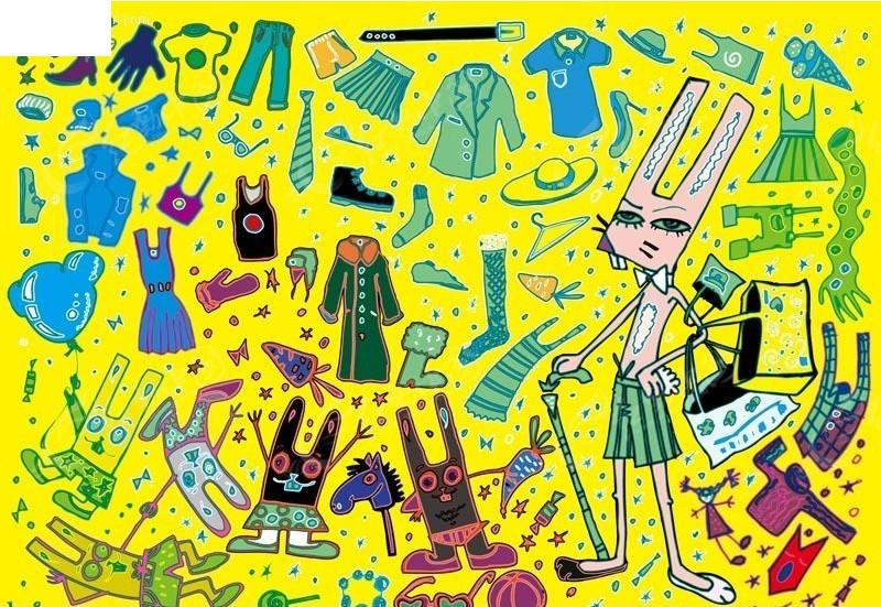 手绘风格各种服装衣服小图标