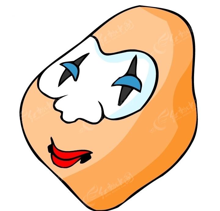 清朝脸谱面具矢量图_传统图案