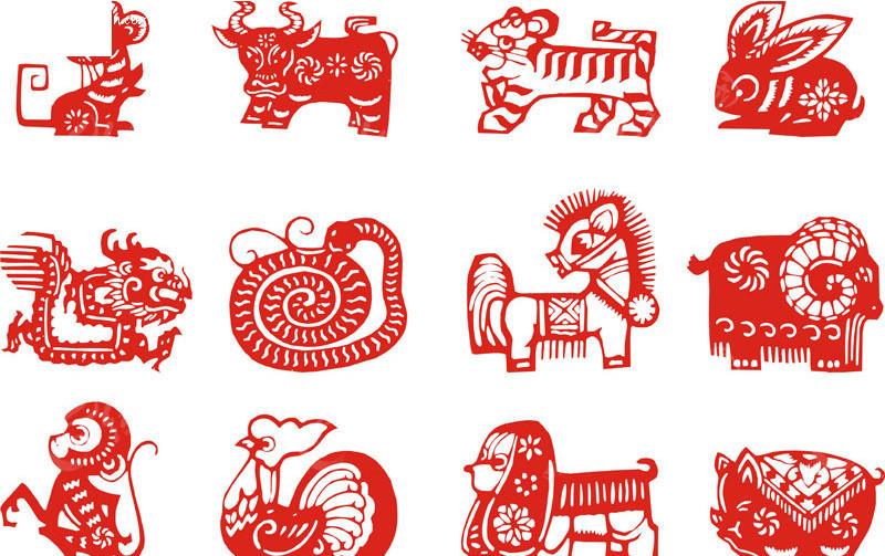 矢量形象12生肖剪纸图片