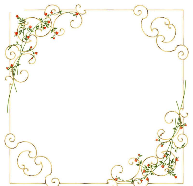 欧式边框花纹PSD素材 psd边框 花边相框素材下载 97294