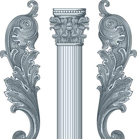 经典欧式柱子石雕花纹矢量图片