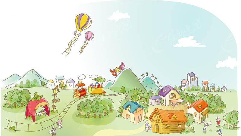 卡通矢量山谷小房子场景