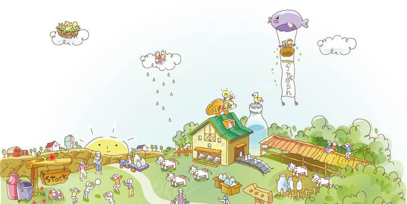 矢量卡通奶牛场场景矢量图 城市风光图片