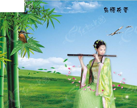 古典吹笛美女图片