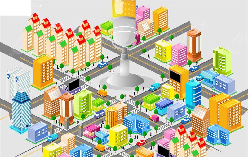 城市规划 立体城市 立体城市街道 建筑设计 建筑图片 矢量素材