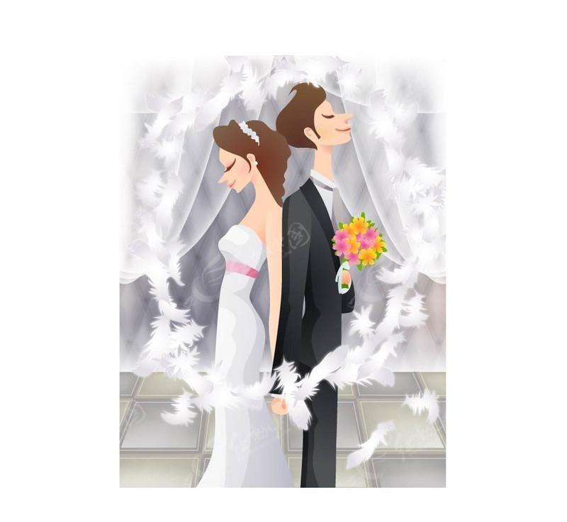 背靠背的新郎新娘-婚纱新人|情侣矢量图下载(编号:84)