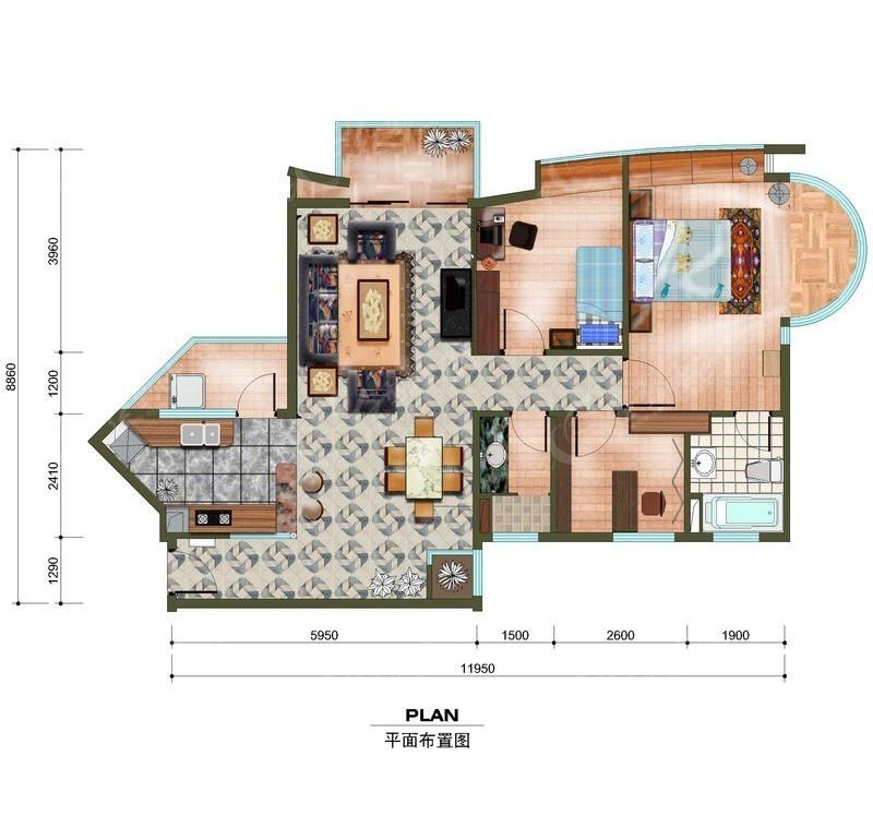 当前位置:免费素材>psd素材>psd建筑空间>室内设计>三室两厅房屋平面