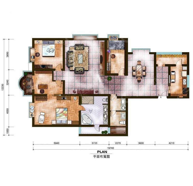 三室两厅房屋平面布局图