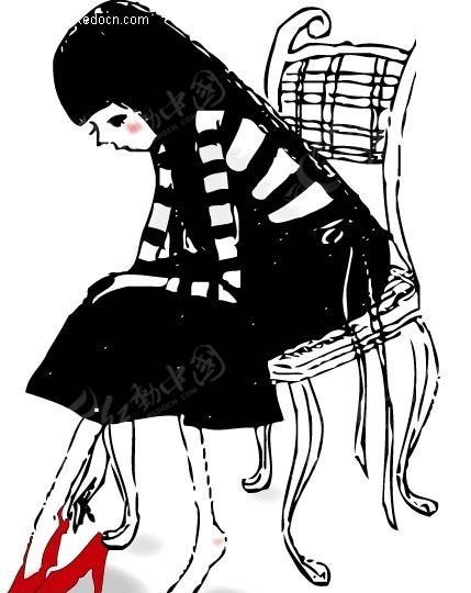 女生搬凳子 手绘