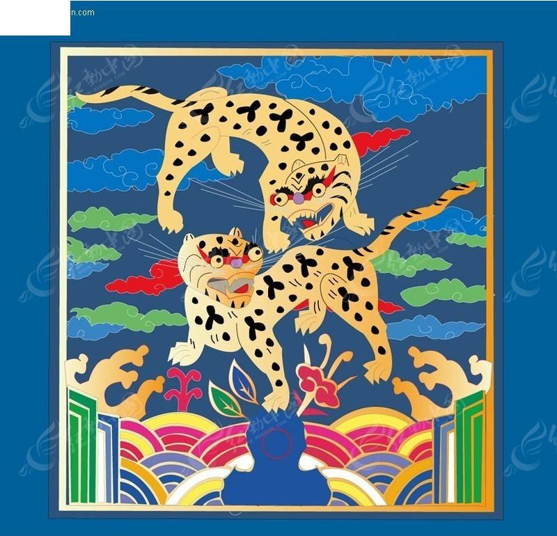 彩色传统矢量老虎