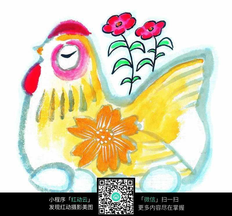 手绘鸡纹样设计