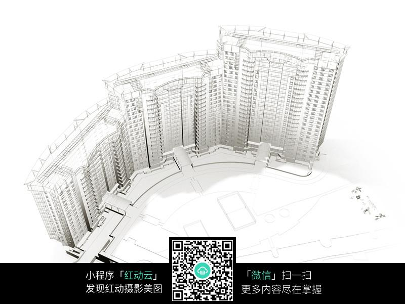 立体手绘的高层建筑图