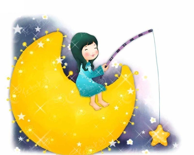 月亮上钓星星的小女孩_卡通人物