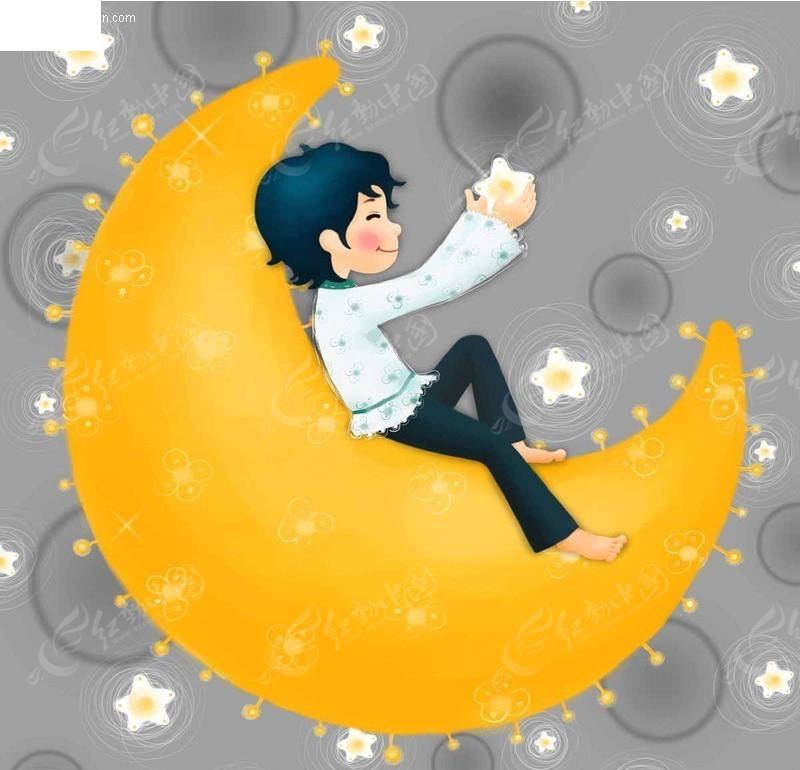 坐在月亮上的小男孩