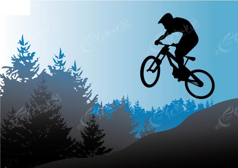 自行车运动剪影矢量素材