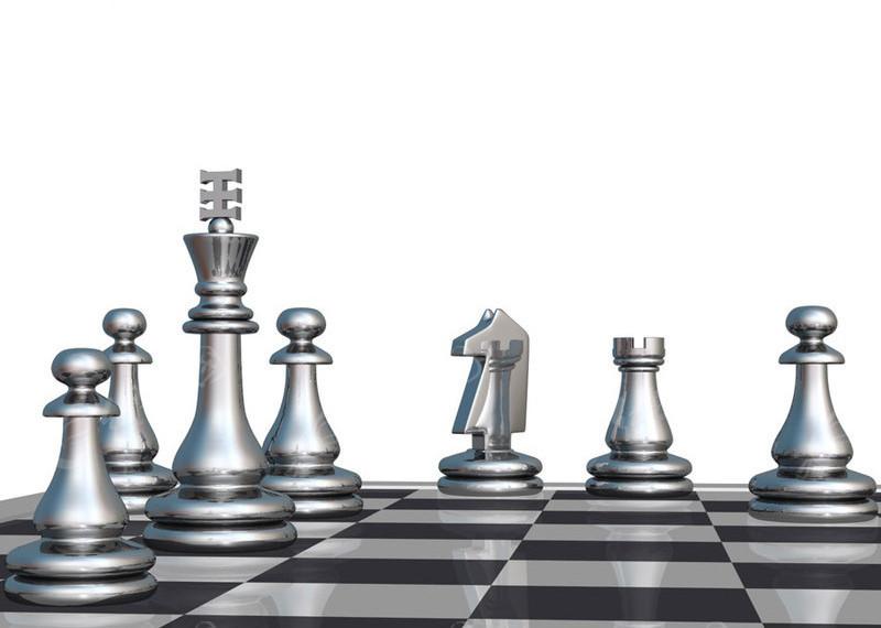 国际象棋盘上的国际象棋 国际象棋ppt 国际象棋绿色ppt表格背景 黄色图片