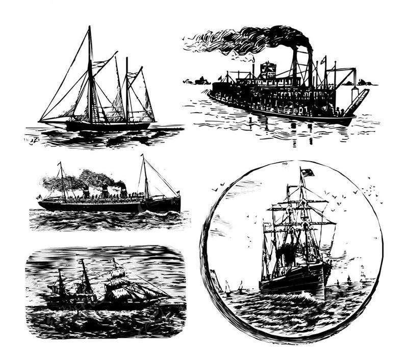 轮船手绘简笔画