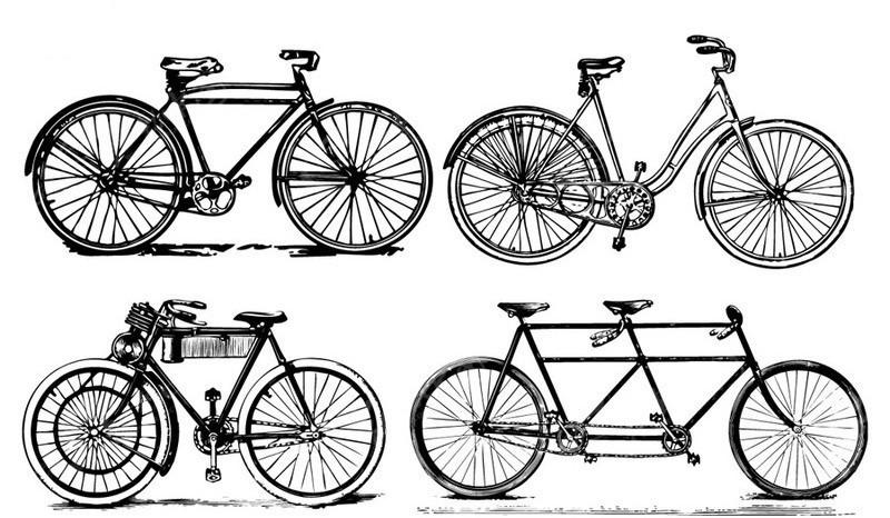 自行车黑白剪影图片