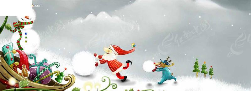 圣诞老人卡通画PSD免费下载 圣诞节素材