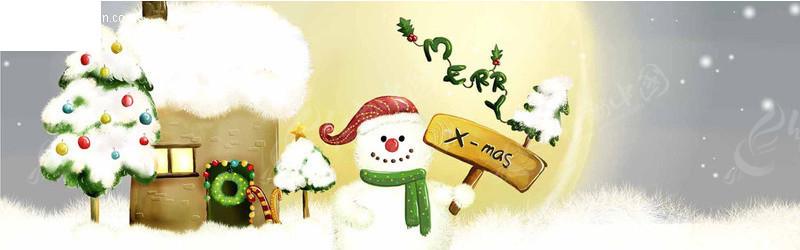 圣诞节雪景卡通画 PSD节日素材下载 110354