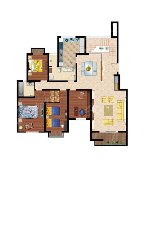三室两厅房屋平面布局; 经典室内平面布置图 施工平面布置图室内彩色