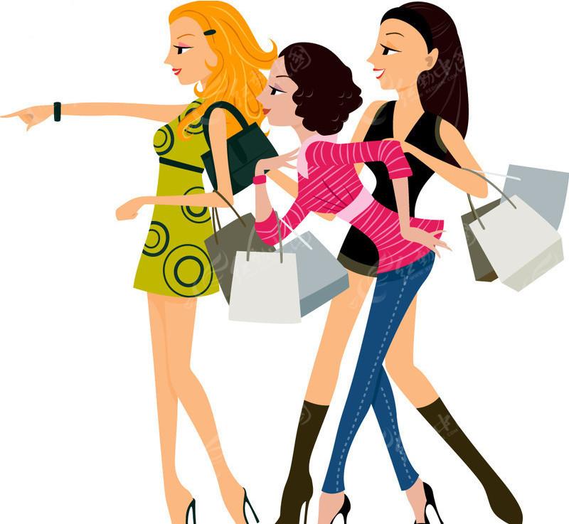 一群追求时尚的购物女性矢量图_女性女人