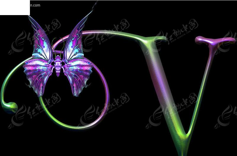 免费素材 字体下载 psd字体 英文字体 v字母蝴蝶艺术字  请您分享图片