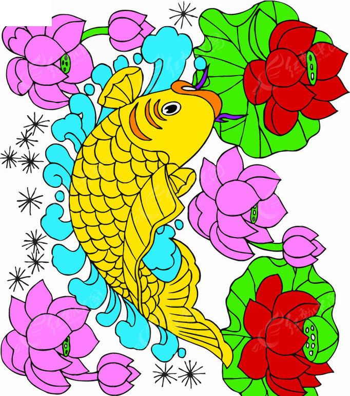莲花金鱼图片