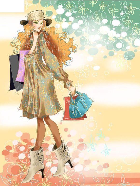 购物美女-时尚人物插画