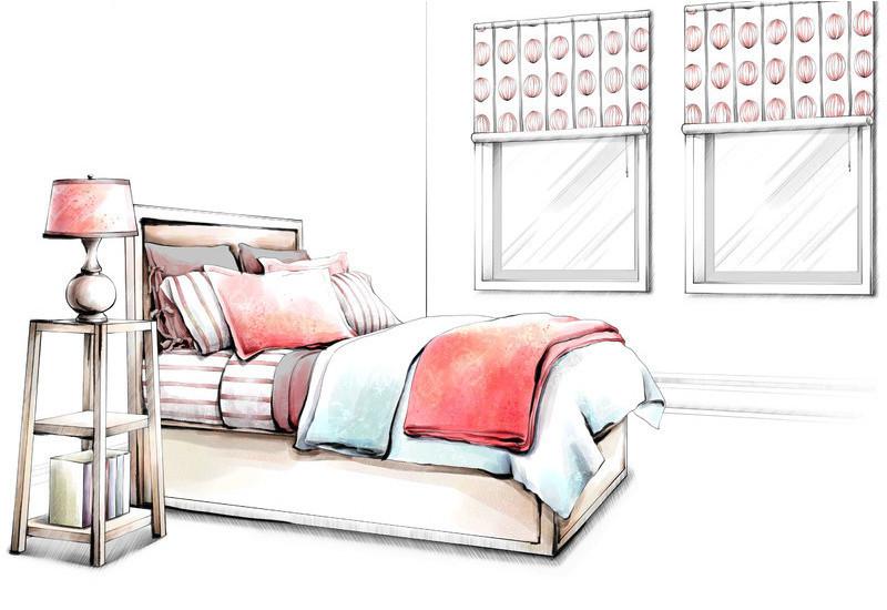 手绘卧室装饰效果图