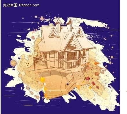 别墅水彩画图片
