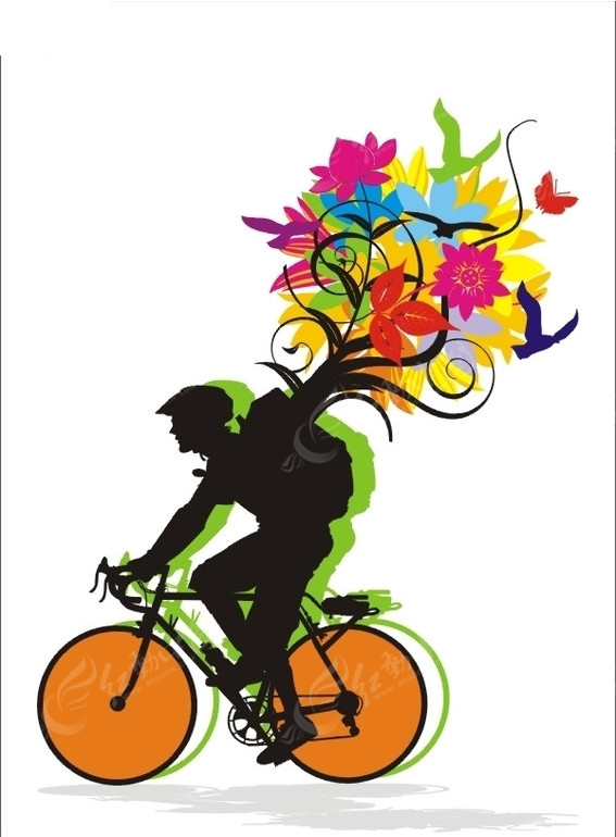 彩色骑自行车剪影