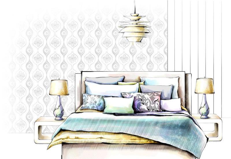 室内装饰效果图  手绘ps源文件分层素材   吊灯   床  墙纸   抱枕