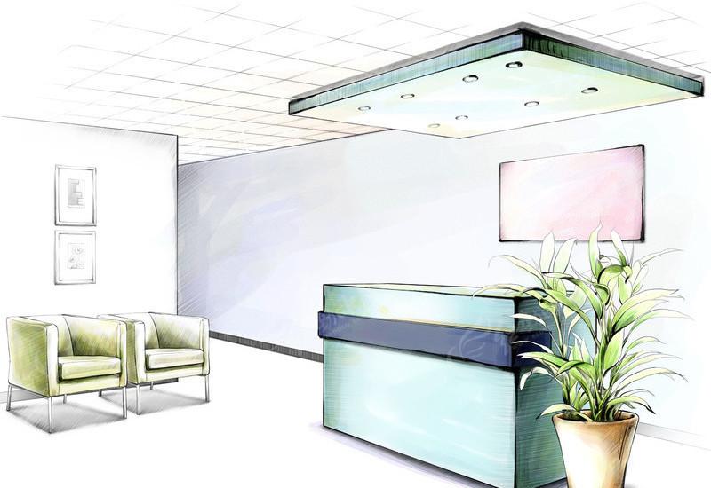 免费素材 psd素材 psd建筑空间 室内设计 手绘前台效果图  请您分享图片