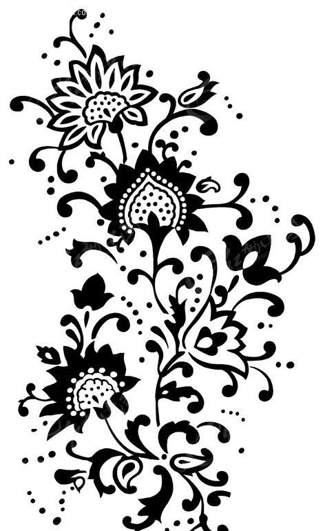 花纹底纹 印花 印花图案 PSD素材 PSD分层素材-黑色花纹印花PSD免