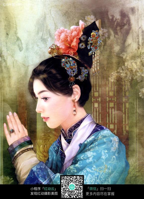 宫廷古典美女图片_书画文字图片