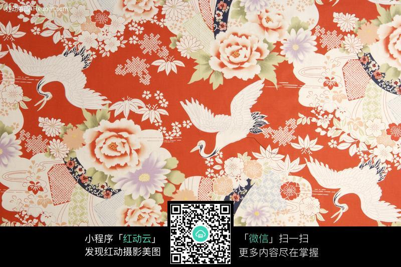 牡丹仙鹤布料背景图片