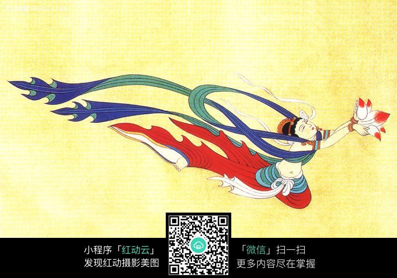 敦煌329窟唐朝中期壁画飞天_其他图片_红动手机版