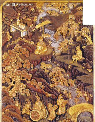 木雕图案-古代生活图
