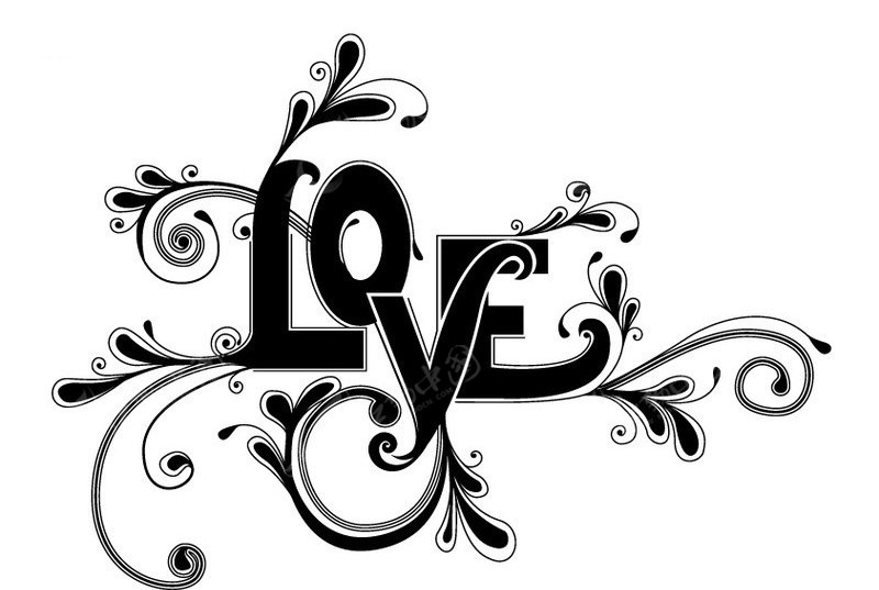 love字体花纹图片