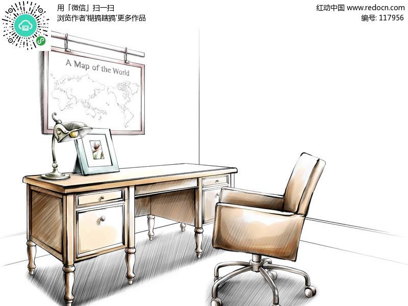 办公桌椅 台灯 相框 地图 室内设计手绘效果图  psd素材 psd分层素材