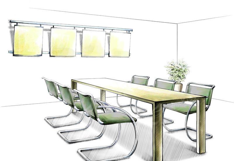 手绘会议室 会议桌椅 盆栽 墙饰 室内设计手绘效果图  psd素材 psd